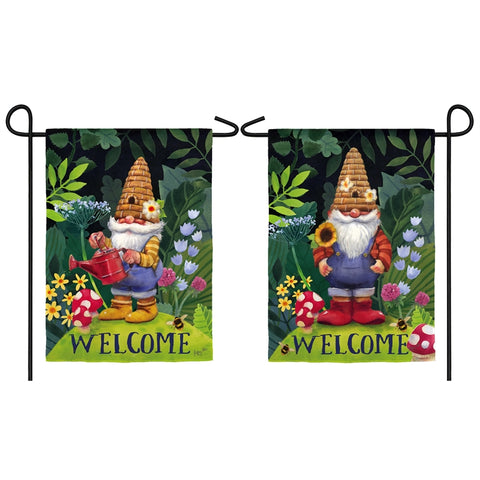 Welcome Gnomes Suede Garden Flag