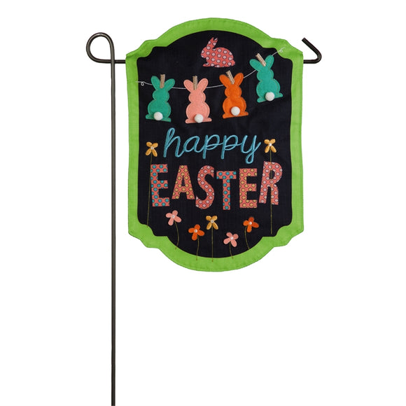 Happy Easter Bunnies Garden Flag Burlap Evergreen - D & D Collectibles
