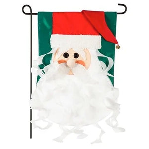 Old St. Nick Appliqué Garden Flag Evergreen Christmas*