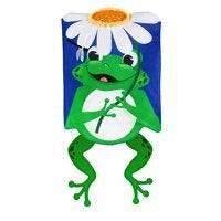Shaped Frog Appliqué Garden Flag By Evergreen