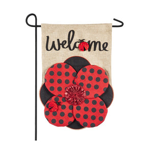 Red and Black Polkadot Flower, with Lady Bugs Burlap Garden Flag