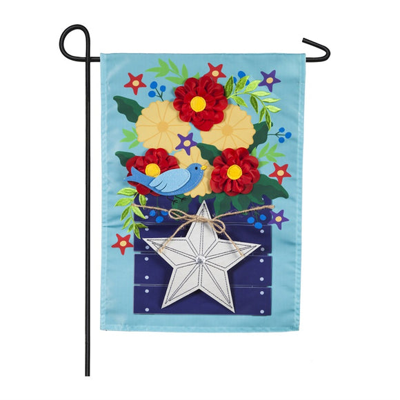 Flower Box with Star Garden Flag Evergreen - D & D Collectibles