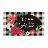 Plaid Bless This Home Shaped Coir Mat
