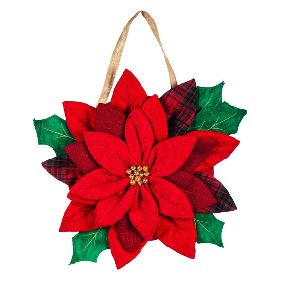Christmas Poinsettia Door Decor by Evergreen - D & D Collectibles