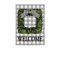 Boxwood Plaid Suede Garden Flag By Evergreen