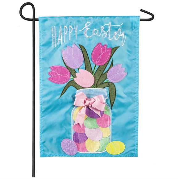 Easter Egg Mason Jar Appliqué Garden Flag - D & D Collectibles