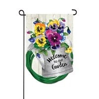 Shaped Pansies Watering Can Garden Flag Evergreen
