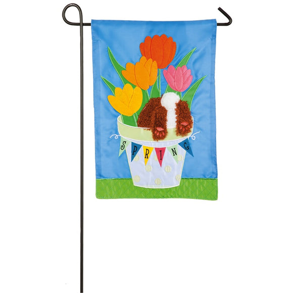 Easter Bunny in a Basket Garden Flag Appliqué - D & D Collectibles