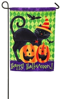 Garden Flag Black Cat Halloween Evergreen - D & D Collectibles