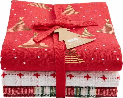 Christmas Red and Gold Dish Towel Set by Mud Pie