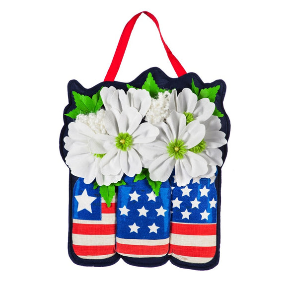 Large Patriotic Floral Bouquet Door Decor - D & D Collectibles