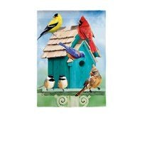 Birdhouse Gathering Linen Garden Flag By Evergreen