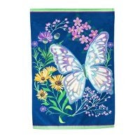 Butterfly Meadow Linen Garden Flag By Evergreen