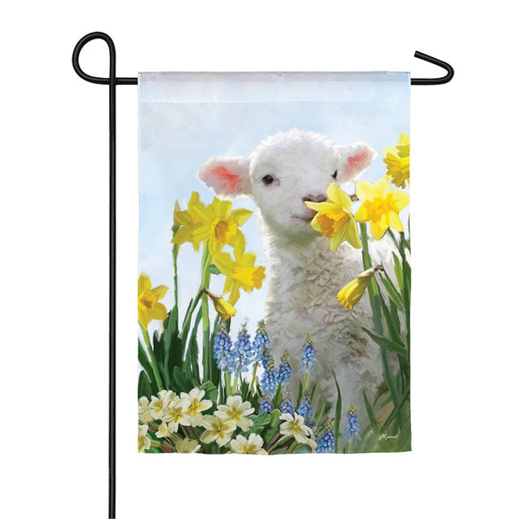 Spring Lamb Garden Flag Satin Easter Evergreen - D & D Collectibles
