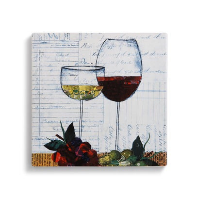 Wine Glass Trivet W/ Conversion Chart on Back 2in1 - D & D Collectibles