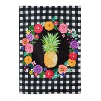 Pineapple Plaid Burlap Garden Flag By Evergreen