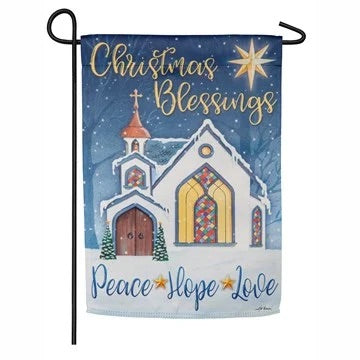 Christmas Blessings Suede Garden Flag Evergreen Christmas*