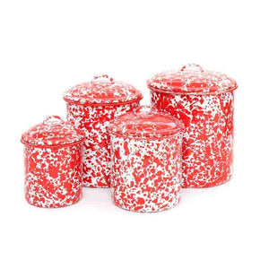 Crow Canyon Canister Set Solid Red Spackle - D & D Collectibles