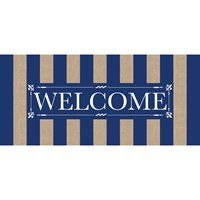 Sassafras Switch Mat Navy Stripe Welcomeby Evergreen