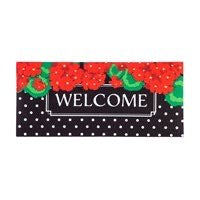 Sassafras Switch Mat Geraniums Polka Dot Welcome by Evergreen