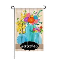 Blue Glass Floral Linen Garden Flag Evergreen