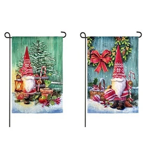 Christmas Gnomes Suede Garden Flag Evergreen Christmas*