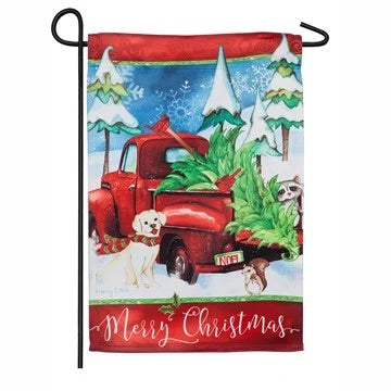 Bringing Home The Tree Suede Garden Flag Evergreen Christmas*