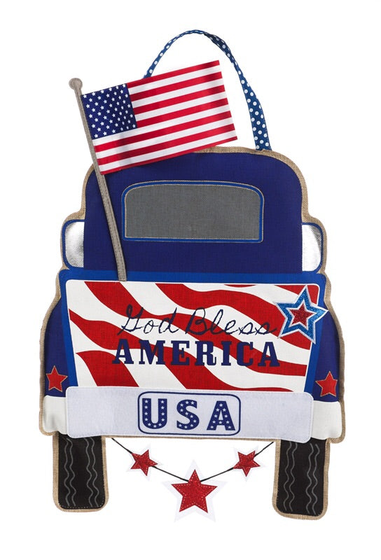 Patriotic Pick-up Truck Burlap Door Decor - D & D Collectibles