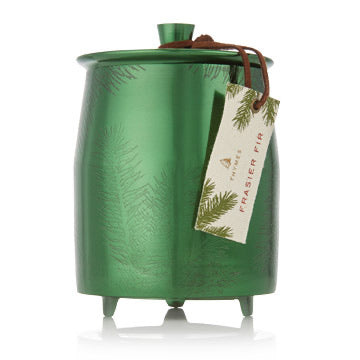 Thymes Frazier Fir Heritage Large Green Metal Tina Candle 20 oz
