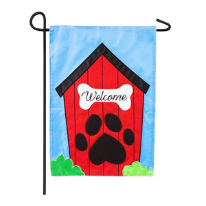 Welcome To The Doghouse Garden Flag Applique Evergreen - D & D Collectibles