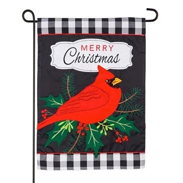 Merry Christmas Cardinal Appliqué Garden Flag Evergreen Christmas*