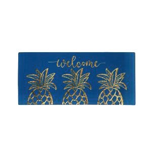 Sassafras Switch Mat Gold Pineapple Welcome Friends  by Evergreen - D & D Collectibles