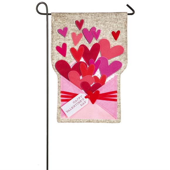 Valentine Envelope of Hearts Garden Flag Evergreen - D & D Collectibles