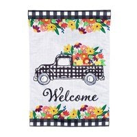 Floral Plaid Truck Garden Flag By Evergreen