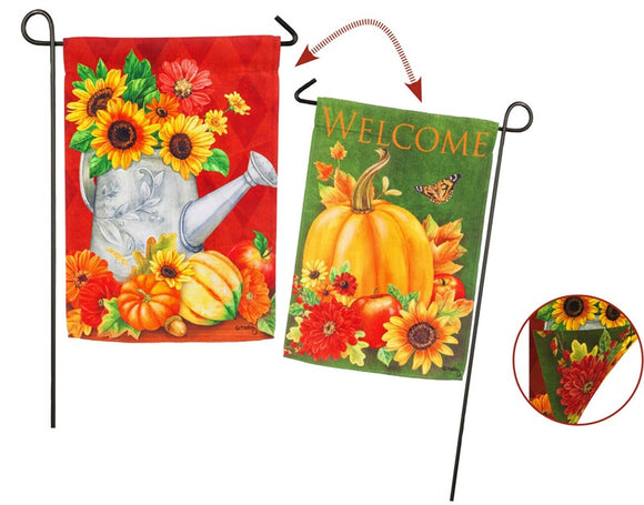 2Sided Harvest Pumpkins Fall Garden Flag Evergreen - D & D Collectibles