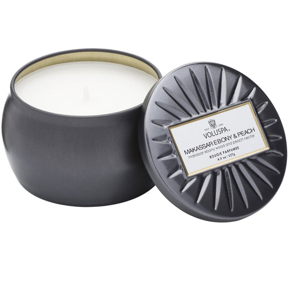 Voluspa Makassar Ebony & Peach Petite Candle 4.5 oz Made in the USA - D & D Collectibles