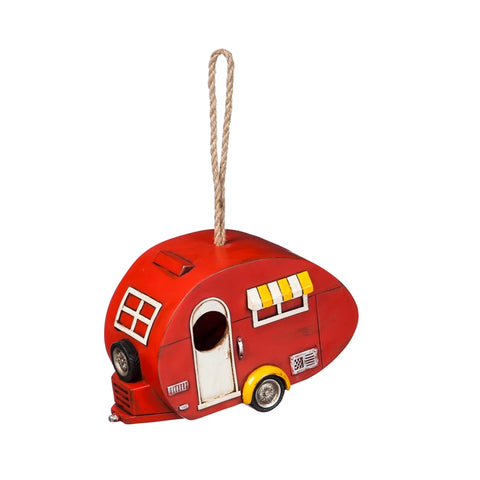 Red Camper Birdhouse Trailer - D & D Collectibles