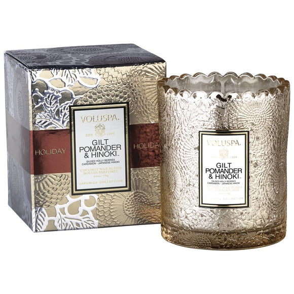 Voluspa Gilt Pomander & Hinoki Scalloped Edge Candle Boxed 6.2 oz Made in the USA - D & D Collectibles