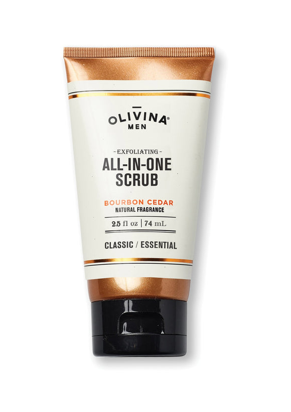 Olivina Exfoliating all in one body wash bourbon cedar 2.5 fl oz Made in the USA - D & D Collectibles
