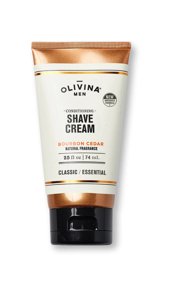 Olivina Conditioning Shave Cream Bourbon Cedar 2.5 fl oz Made in the USA - D & D Collectibles