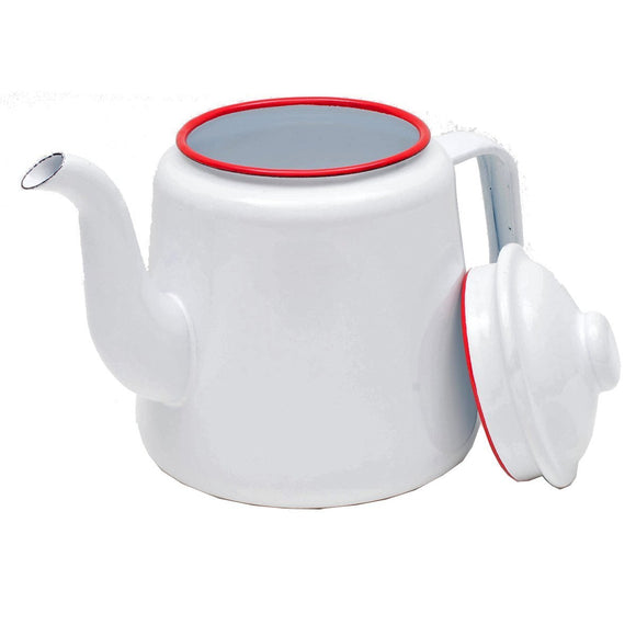 Crow Canyon Tea Pot Solid White with Red Rim - D & D Collectibles