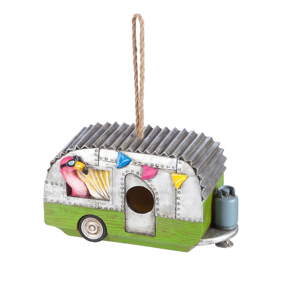 Flamingo Camper Birdhouse Trailer - D & D Collectibles