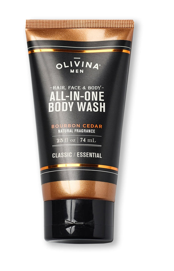 Olivina All in one body wash bourbon cedar 2.5 fl oz Made in the USA - D & D Collectibles