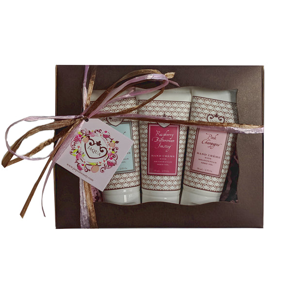 Pink Champagne Raspberry Caramel Cappuccino Hand Creme Gift Set