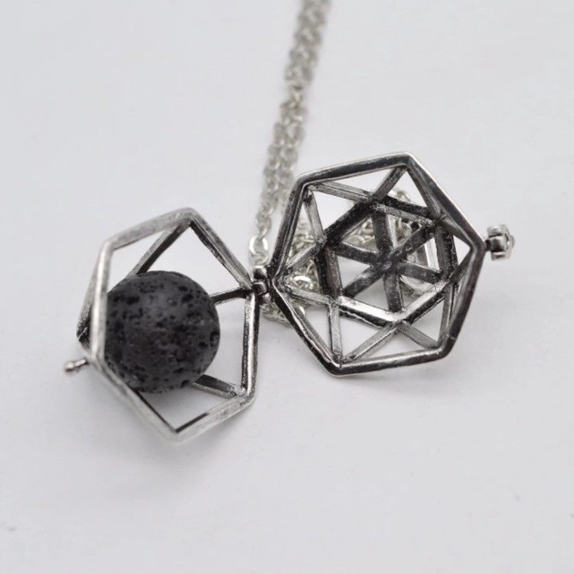 Geometric Lava Stone Perfume Diffuser Necklace for Zodiac Perfume