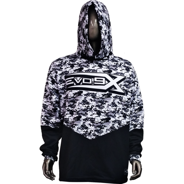 Evo9x CAMO Full Dye Sublimated Drawstring Hoodie Black/White