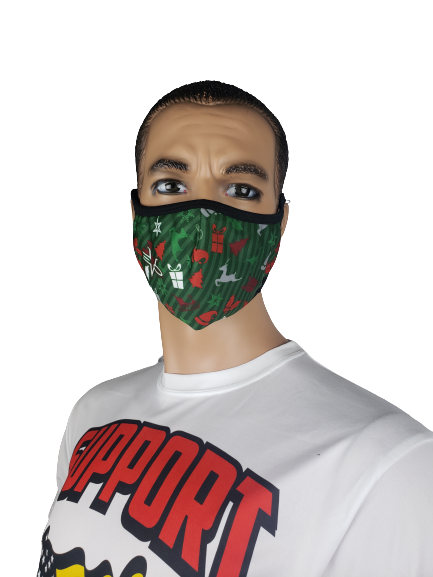 Evo9x CHRISTMAS Ear Loop Fabric Face Mask Green
