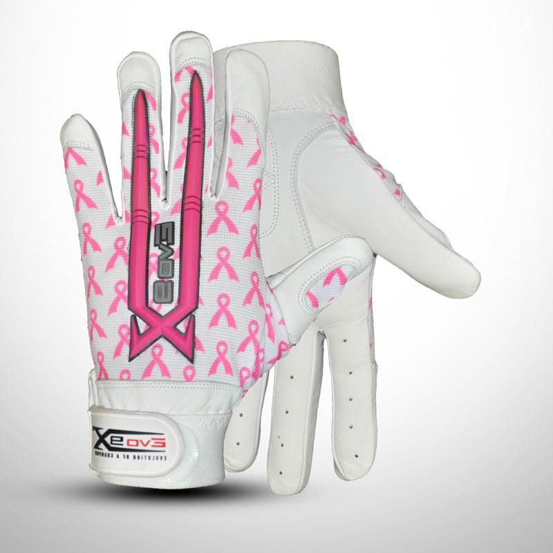 Evo9x Sublimated Baseball & Softball Batting Gloves White/Pink