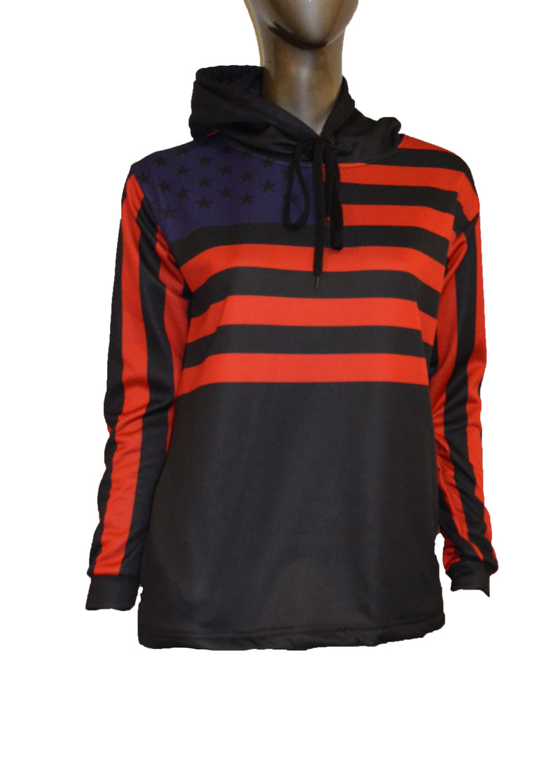 WOMENS FULL DYE SUBLIMATED BLACK FLAG PULLOVER HOODIE