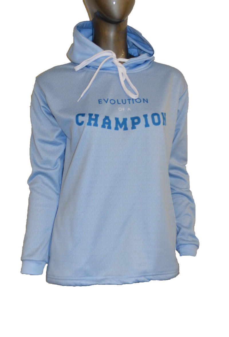 WOMENS FULL DYE SUBLIMATED SKY BLUE EVO SLOGAN PULLOVER HOODIE